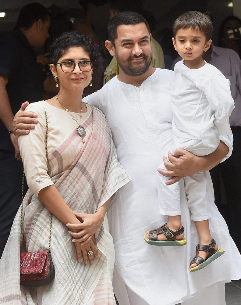 Aamir Khan with his wife Kiran Rao and son Azad during Eid al-Fitr celebrations in Mumbai.