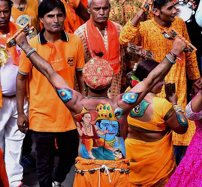Devotees during 138th Rath Yatra of Lord Jagannath in Ahmedabad.