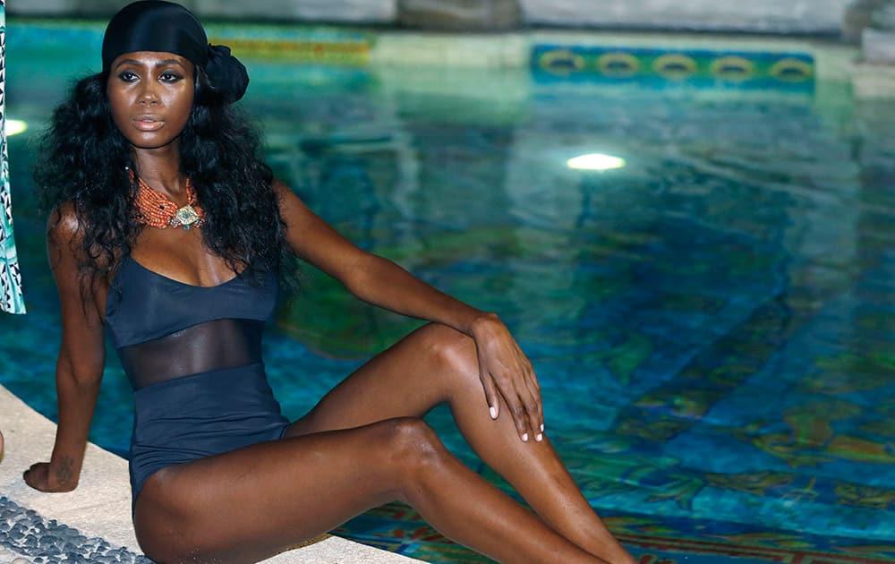 A model poses during the Mara Hoffman swimwear show at Casa Casuarina as part of Funkshion Fashion Week Swim in Miami Beach, Fla.