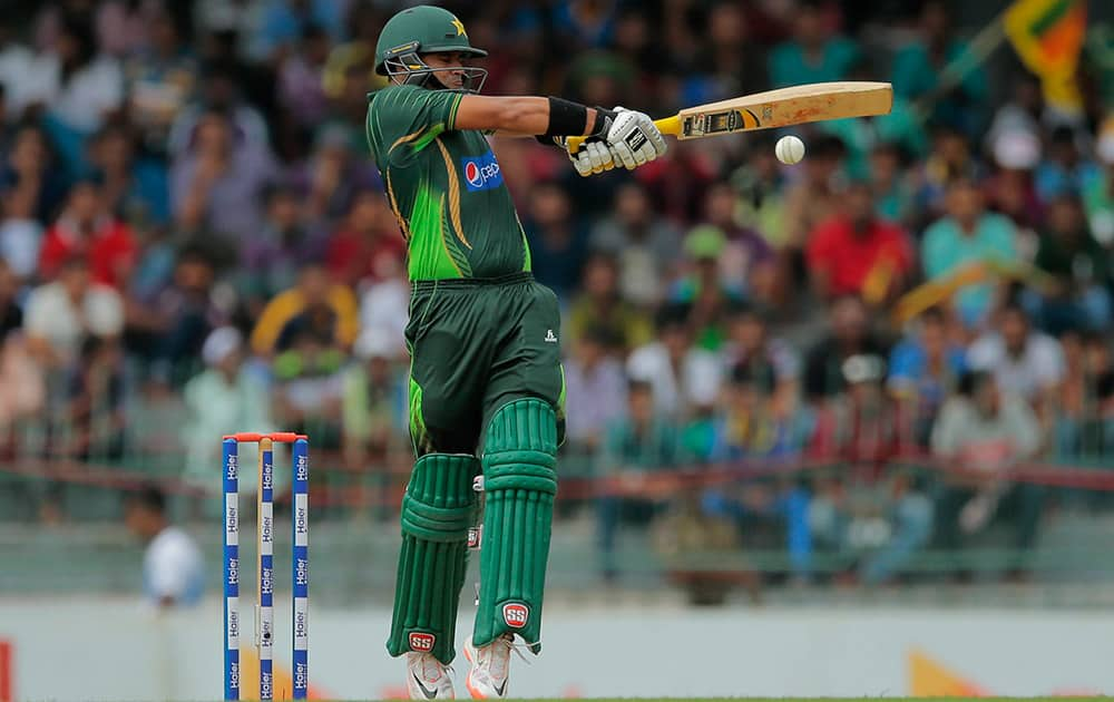 Pakistani batsman Azhar Ali plays a shot during their third one day international cricket match with Sri Lanka in Colombo, Sri Lanka.