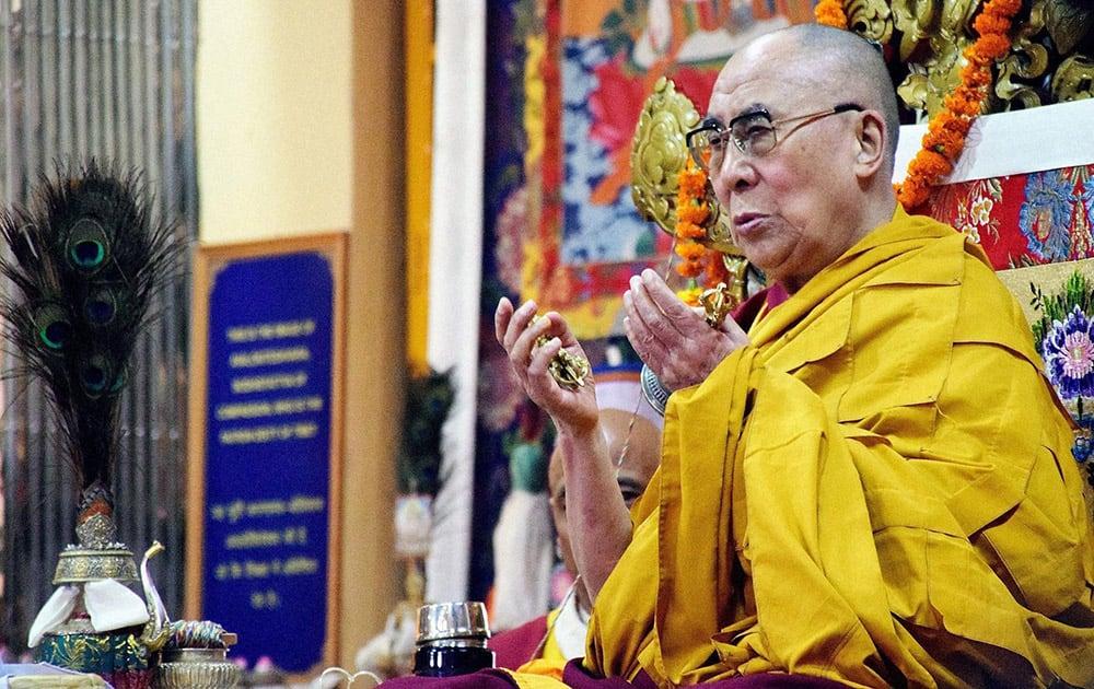 Tibetan spiritual leader the Dalai Lama takes part in a long life prayer session at the Tsuglagkhang Temple in McLeodGanj near Dharamsala.
