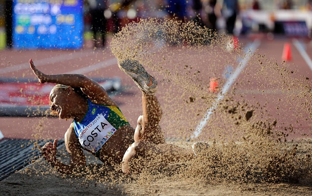 Brazil's Kelia Costa competes at the women's triple jump final at the Pan Am Games in Toronto.