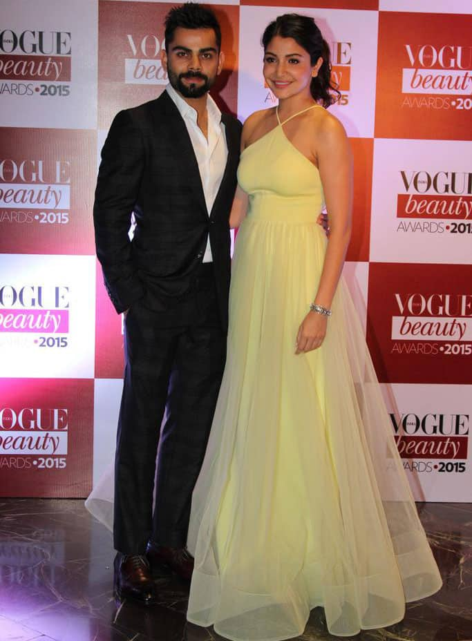 Anushka Sharma, Virat Kohli dazzle at Vogue Beauty Awards! #VogueBeautyAwards -twitter
