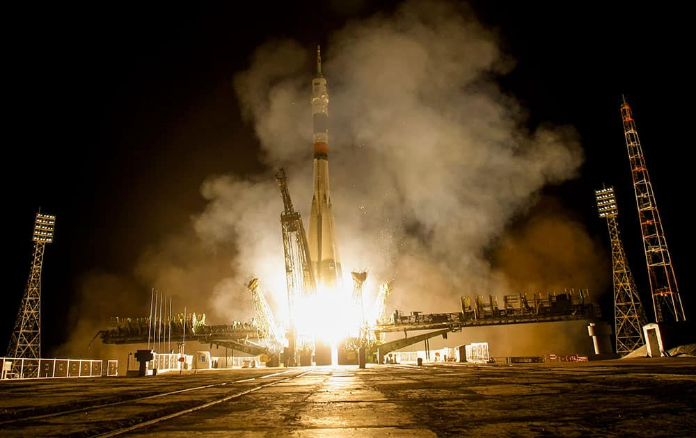 The Soyuz-FG booster rocket with the space capsule Soyuz TMA-14M is launched to the International Space Station from the Russian leased Baikonur cosmodrome, Kazakhstan.