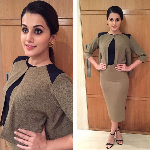 Ruvya outfit and Raabta earrings for Bliss LED launch. Styled by @devs213 - Instagram@taapsee
