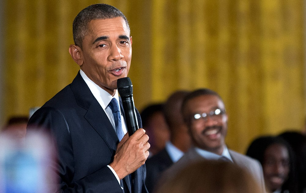 President Barack Obama speaks to a gathering of more than 130 college-bound students and guests from across the county participating in the 2015 Beating the Odds Summit in the East Room of the White House in Washington.
