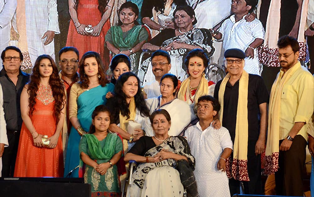 West Bengal Chief Minister Mamata Banerjee with actress Rituparna Sengupta & other film actors during.