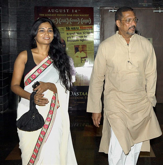 Bollywood actor Nana Patekar and Marathi actor Usha Jadhav during the premiere of Marathi film Manatlya Unhat in Mumbai.