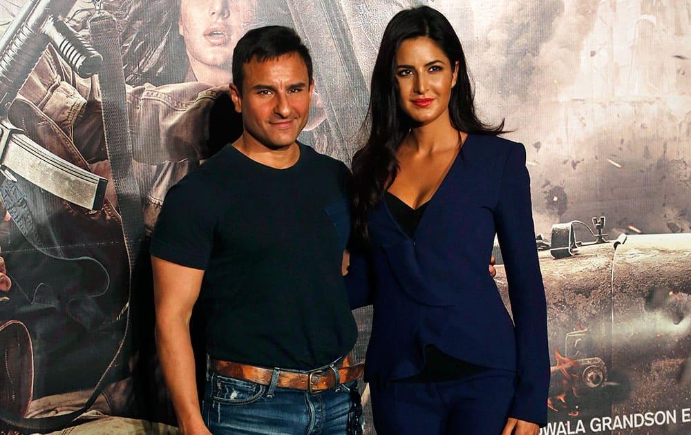 "Bollywood actress Katrina Kaif and actor Saif Ali Khan pose for photographs during the trailer launch of his upcoming movie ""Phantom"" in Mumbai."