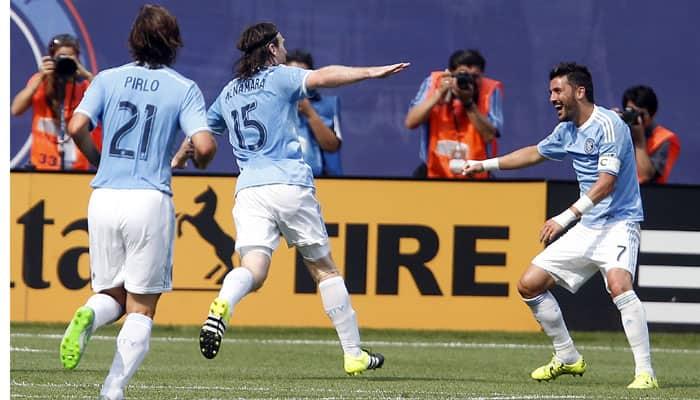 David Villa scores twice as New York City FC win on Andrea Pirlo`s debut