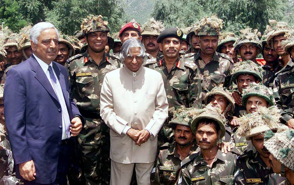 File photo of former president APJ Abdul Kalam with J & K Chief Minister Mufti Mohammad Sayeed in Uri in June 2003.