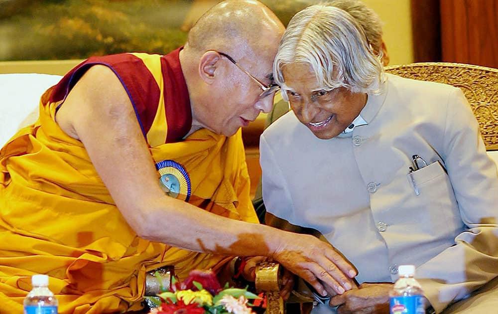 File photo of former president APJ Abdul Kalam with Tibetan spiritual leader Dalai Lama in New Delhi in Nov 2012.