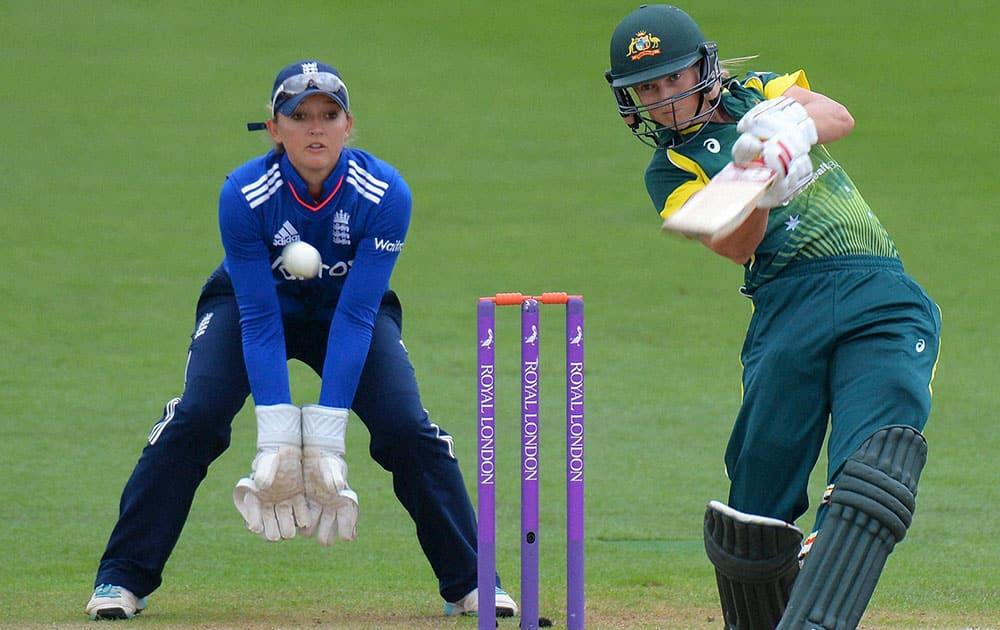 Australias Meg Lanning, plays a shot batting during the One Day International against England at New Road, Worcester England.