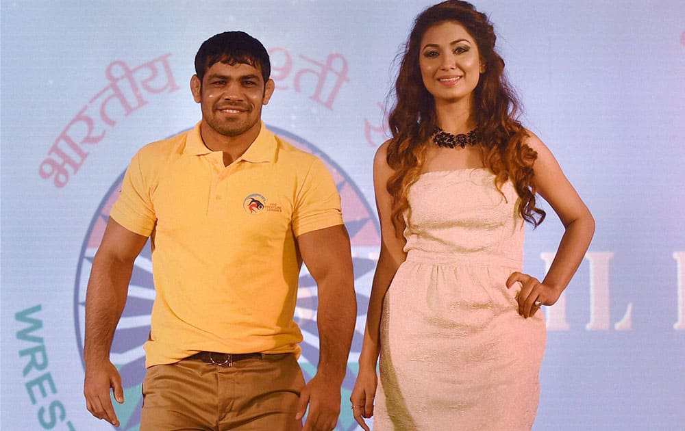 Wrestler Sushil Kumar walks the ramp during the launch of Pro Wrestling League promoted by Wrestling Federation of India and and Pro Sportify in New Delhi.