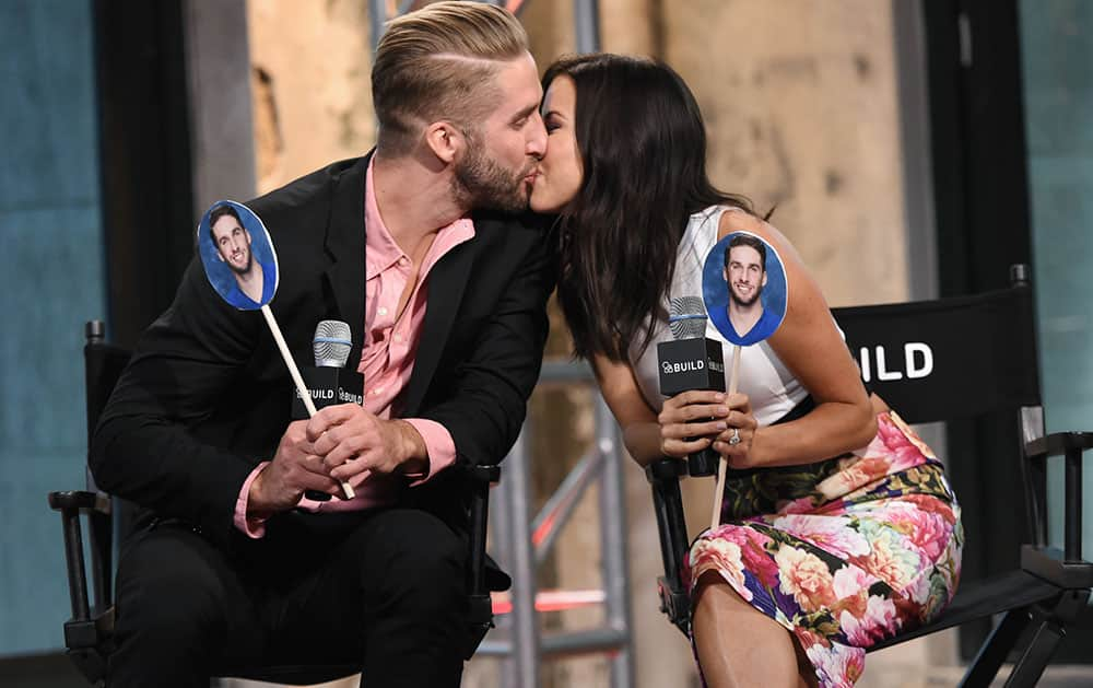 Television personalities Kaitlyn Bristowe, right, and Shawn Booth participate in AOL's BUILD Speaker Series to discuss the reality show,
