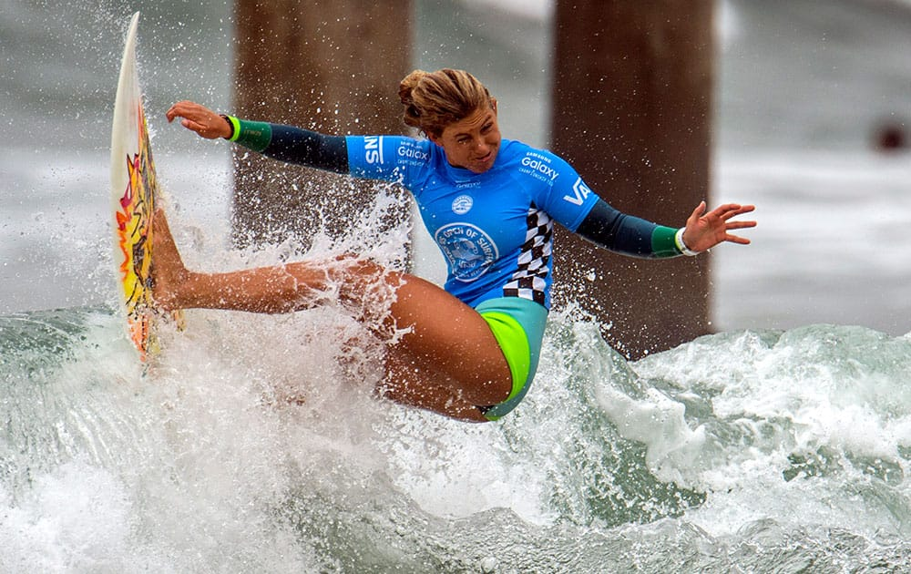Sage Erickson competes in the second round of the U.S. Open of Surfing in Huntington Beach, Calif.