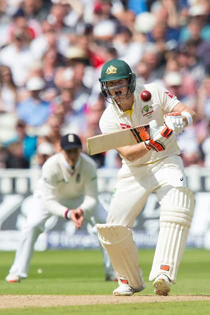 Australia's Steven Smith bats on the second day of the third Test match of the five match series between England and Australia at Edgbaston cricket ground in Birmingham, England.