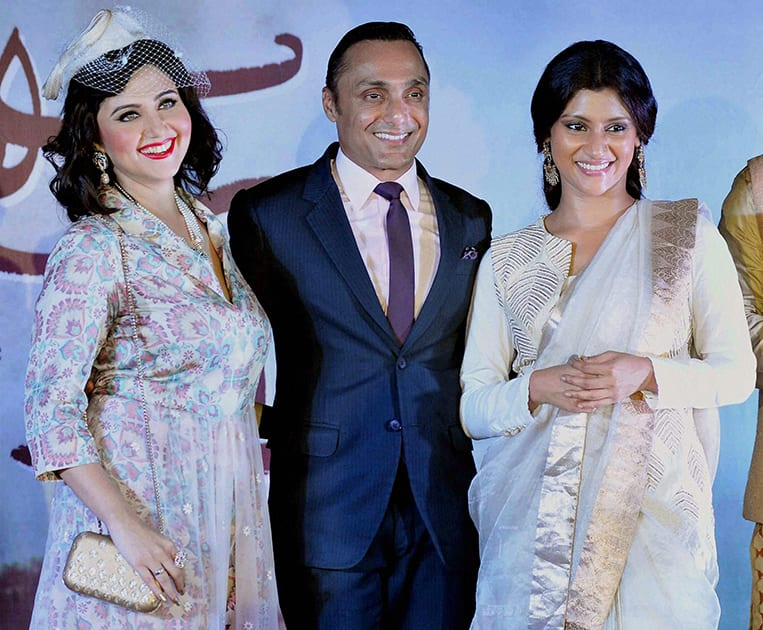 Bollywood actors Rahul Bose, Konkona Sen Sharma (R) and Tollywood actress Swastika Mukherjee (L) during the promotion of their upcoming Bengali movie Shesher Kobita (The Last Poem) in Kolkata.