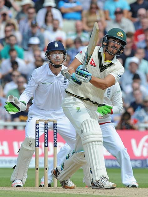 Australia's Mitchell Starc plays a shot during day three of the third Ashes Test cricket match, at Edgbaston, Birmingham, England.