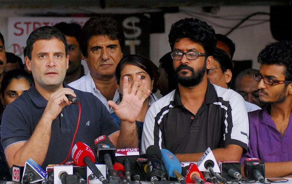 Congress Vice President Rahul Gandhi talks to the media after meeting agitating students of the Film and Television Institute of India (FTII) in Pune.