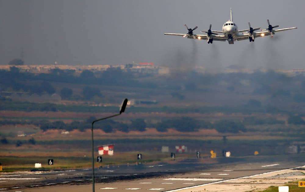 A United States Navy airplane takes off from the Incirlik Air Base, on the outskirts of the city of Adana, southern Turkey.