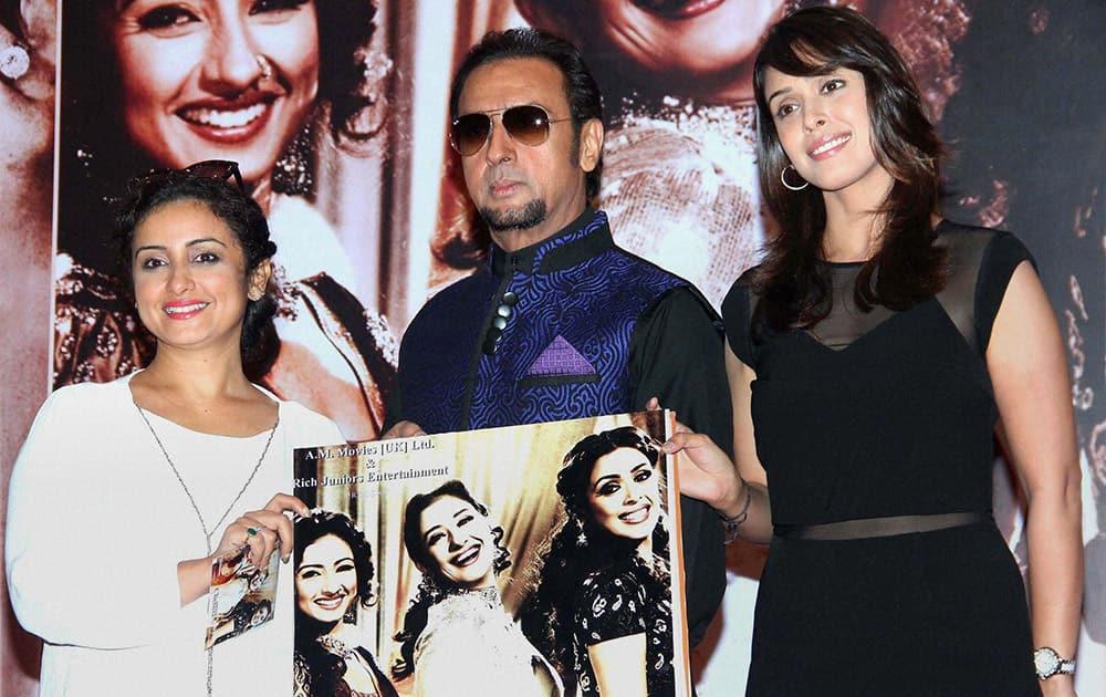 Bollywood actors Hrishita Bhatt, Gulshan Grover and Divya Dutta during music album launch of film Chehere in Mumbai.