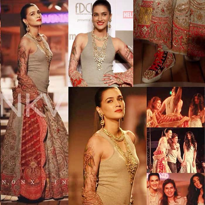 Kriti Sanon :- Rebel bride: ganji,lehenga of jersey fabric,body art,mehendi,heavy dupatta,embroidered converse-By Monisha Jaising!! -twitter