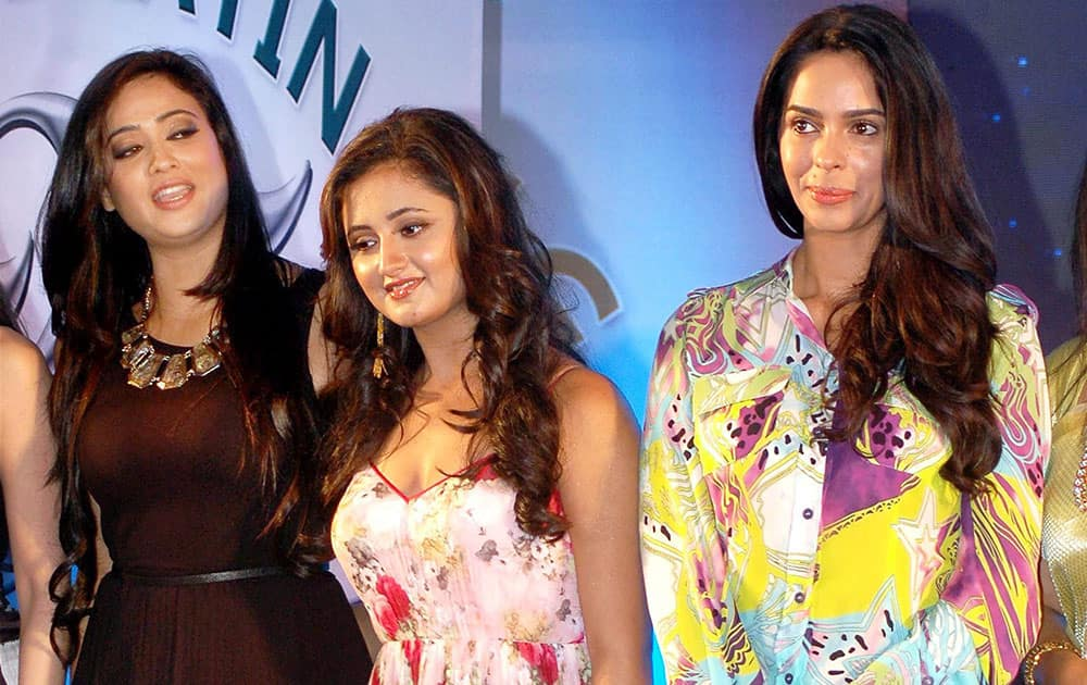 Bollywood actors Mallika Sherawat, Rashmi Desai and Shweta Tiwari during the 25 years celebration of G.V Films and launch of its website in Mumbai.