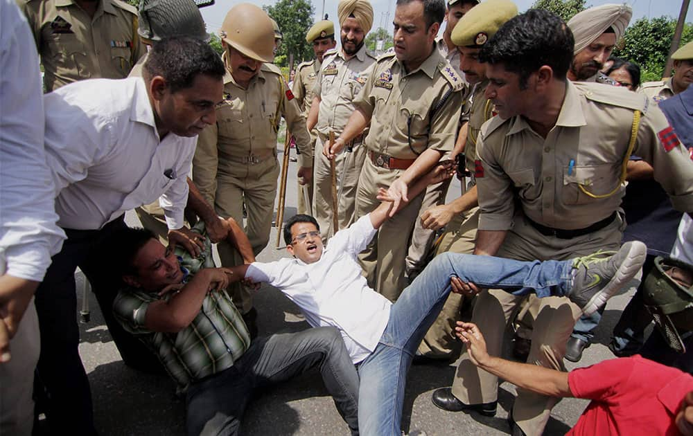 Police detained congress party workers at a protest during Jammu Bandh over the AIIMS issue, in Jammu.