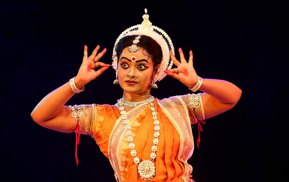 A dancer performs during Naman, a classical dance festival in Bangalore, India.