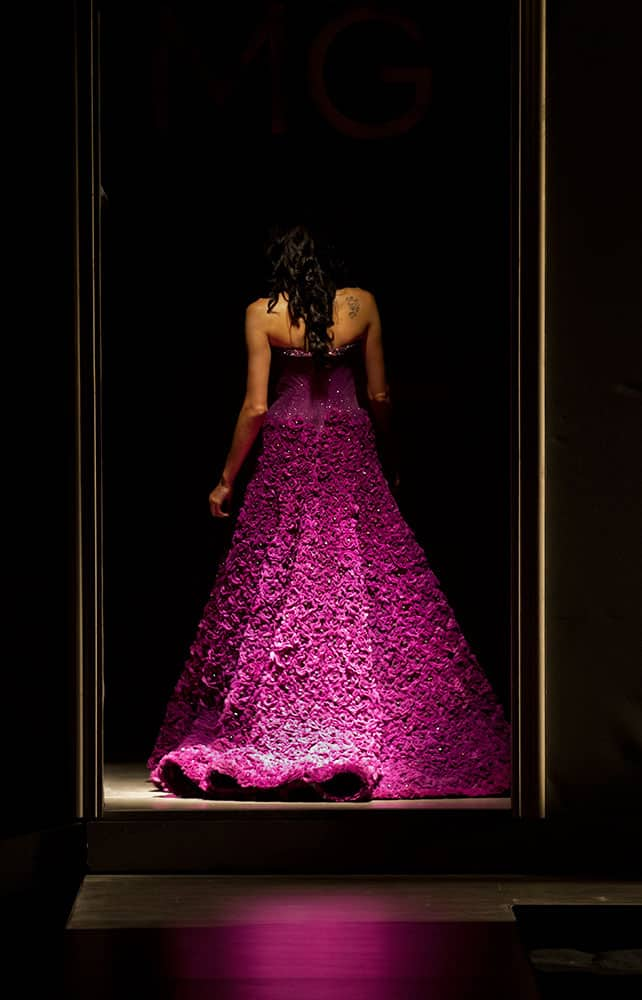 A model displays a creation by Indian designer Manav Gangwani at the Amazon India Couture Week 2015 in New Delhi.