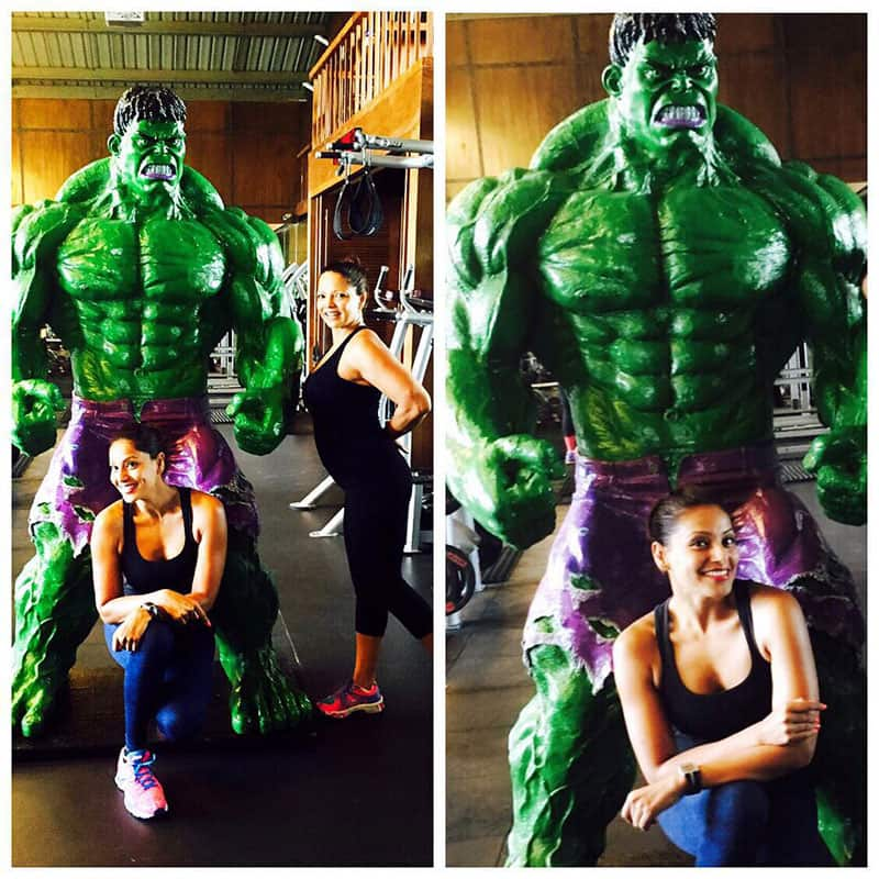 Bipasha Basu ‏:- New guy in our gym @palivillagecafe ! Never really posed with any guy for a pic in the gym! Hulk…  -instagram