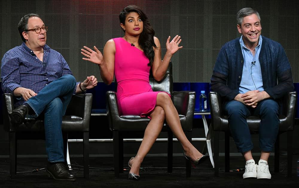 Executive producer Mark Gordon, from left, actress Priyanka Chopra, and writer/executive producer Joshua Safran appear during the