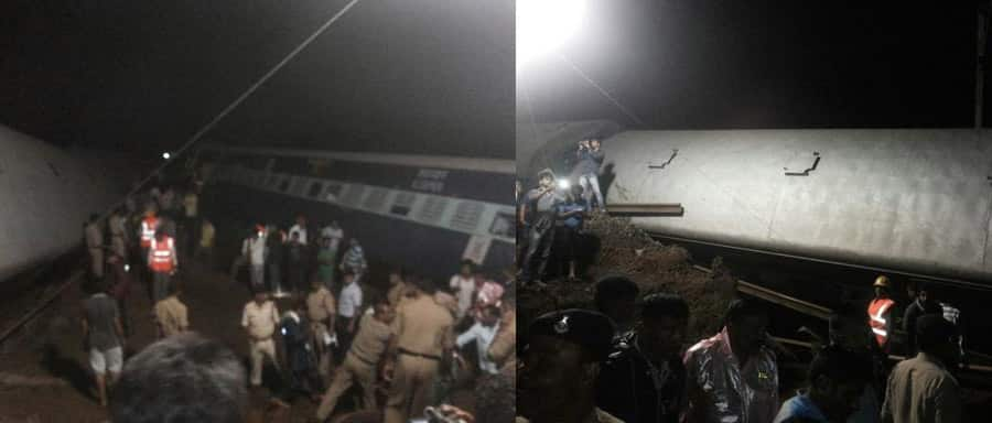 Twin Train Derailment in MP: NDRF and rescue officials inside a bogey which derailed. Twitter@ANI_news