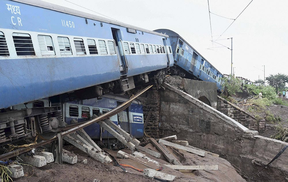 Wreckage of bogies of a train after two express trains derailed in Harda district of Madhya Pradesh.