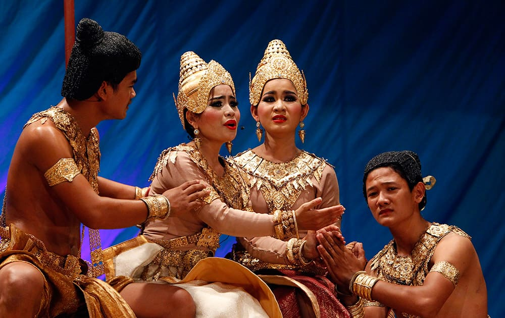 Cambodian Royal Fine Art University students perform the traditional drama, called
