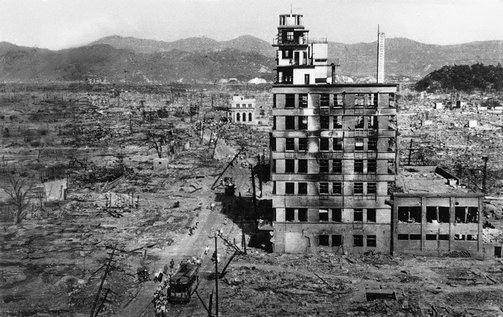 FILE PHOTO - In this Sept. 8, 1945, the shell of a building stands amid acres of rubble in this view of the Japanese city of Hiroshima. On Aug. 6, 1945, a US plane dropped an atomic bomb on Hiroshima, the first nuclear weapon has been used in war. Japan surrendered on Aug. 15, ending World War II.