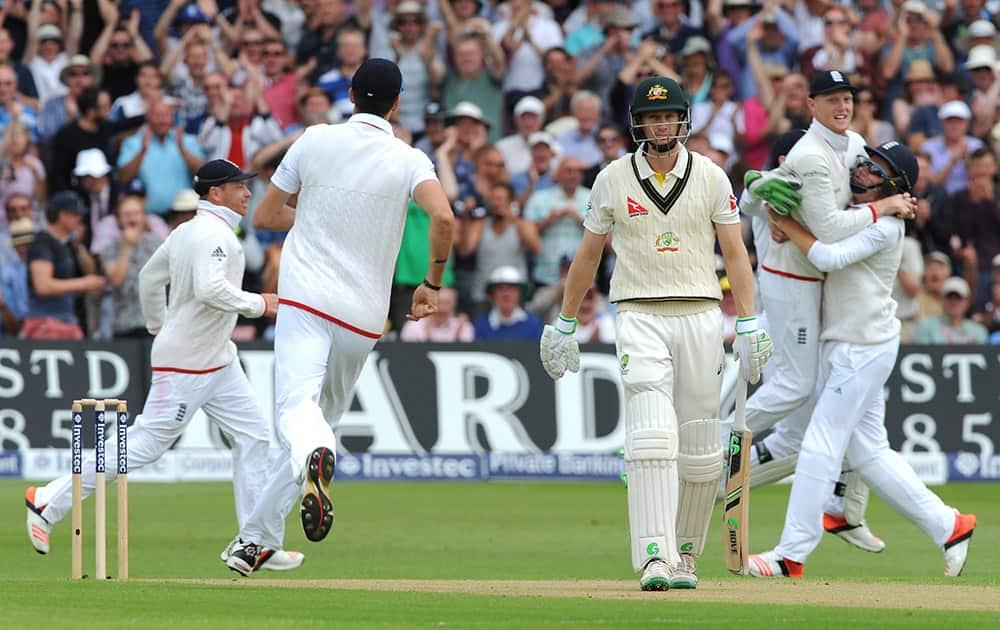 Australia's Adam Voges, after being bowled by England's Stuart Broad caught England's Ben Stokes for 1 run during day one of the fourth Ashes Test cricket match, at Trent Bridge, Nottingham, England.