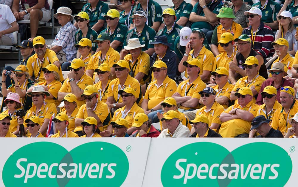 Australian fans sit in the stands as their team struggle during the first session on the first day of the fourth Ashes test cricket match between England and Australia at Trent Bridge cricket ground in Nottingham, England.