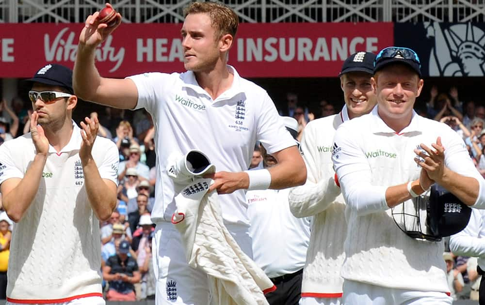 England's Stuart Broad acknowledges fans after finishing taking 8 Australia wickets for 15 runs during day one of the fourth Ashes Test cricket match, at Trent Bridge, Nottingham, England.