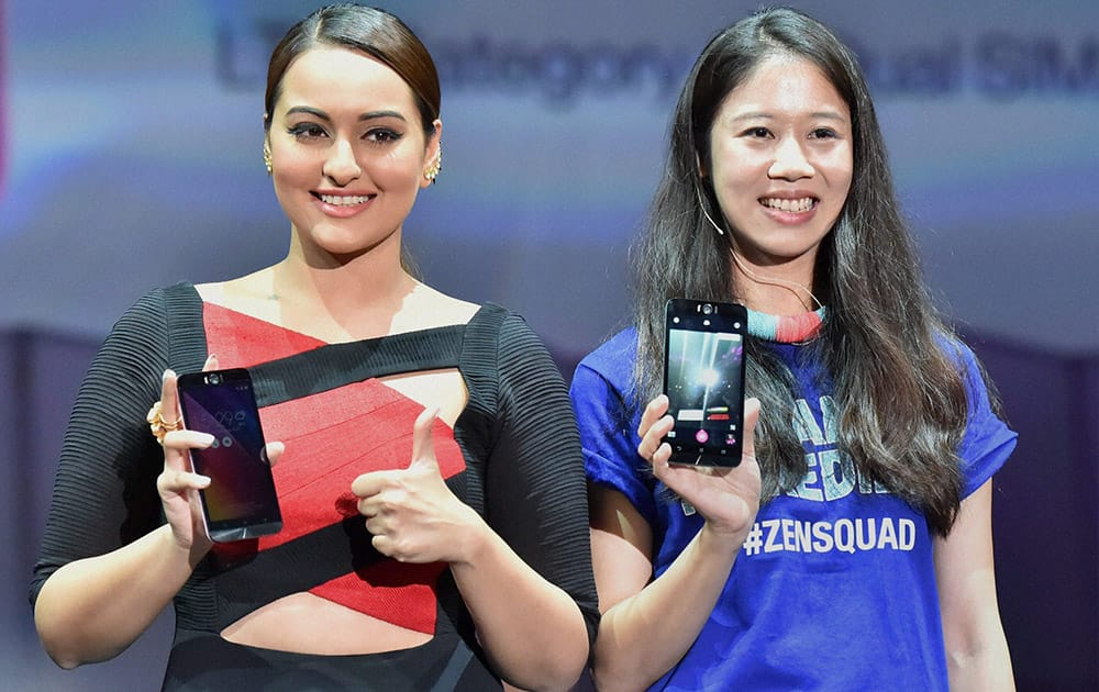 Sonakshi Sinha at the launch of Asuss new smartphones at an event in New Delhi.