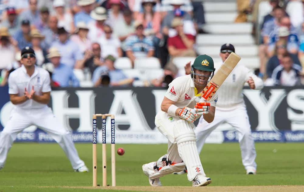 Australia's David Warner plays a ball from England's Stuart Broad on the second day of the fourth Ashes test cricket match between England and Australia at Trent Bridge cricket ground in Nottingham, England.