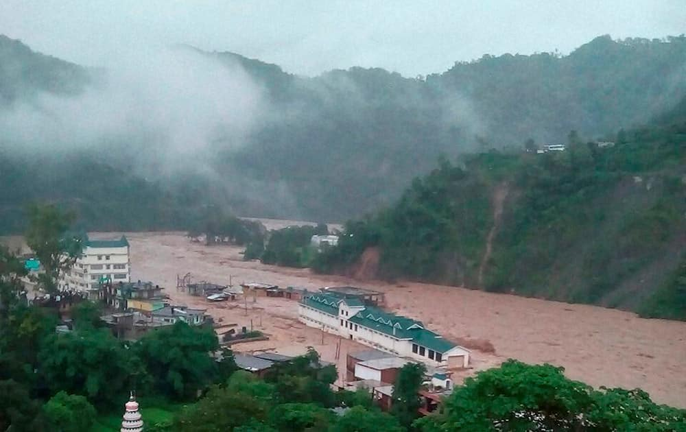 Flooded Dharampur market and bus station after a cloud burst in Mandi district of Himachal Pradesh.