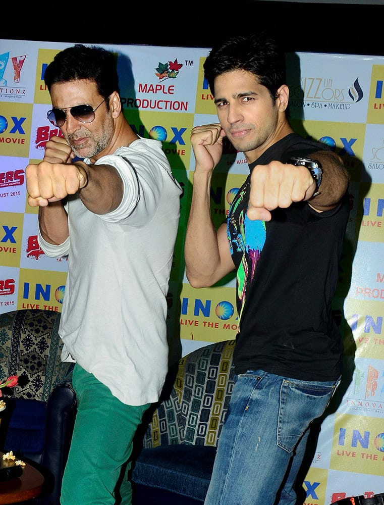 Bollywood actors Akshay Kumar and Siddhart Malhotra during the promotional event of upcoming movie Brothers in Jaipur.