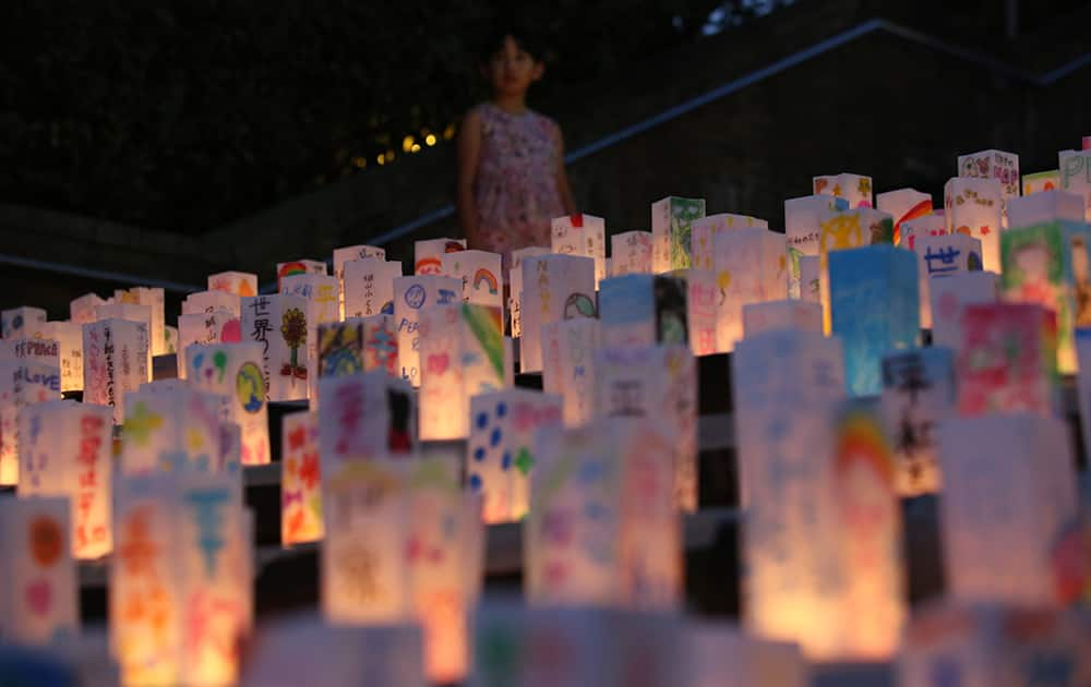 Paper lanterns are placed for the victims of the atomic bombing on Nagasaki on the eve the 70th anniversary of the Nagasaki Atomic Bombing at the Peace Park in Nagasaki, southern Japan.
