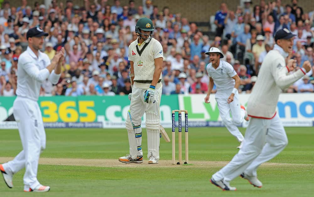 Australia's Mitchell Starc can only watch as he is bowled by England's Ben Stokes caught England's Ian Bell for a duck during day three of the fourth Ashes Test cricket match, at Trent Bridge, Nottingham, England.
