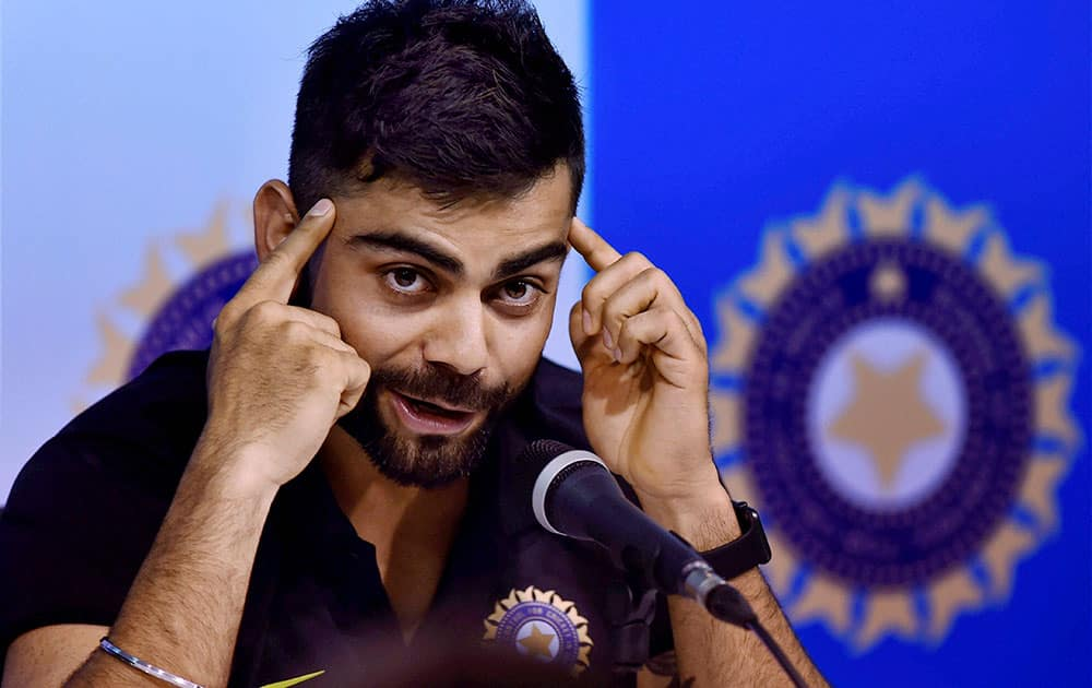 Virat Kohli addressing the media persons during the pre departure press conference at MAC Stadium in Chennai.