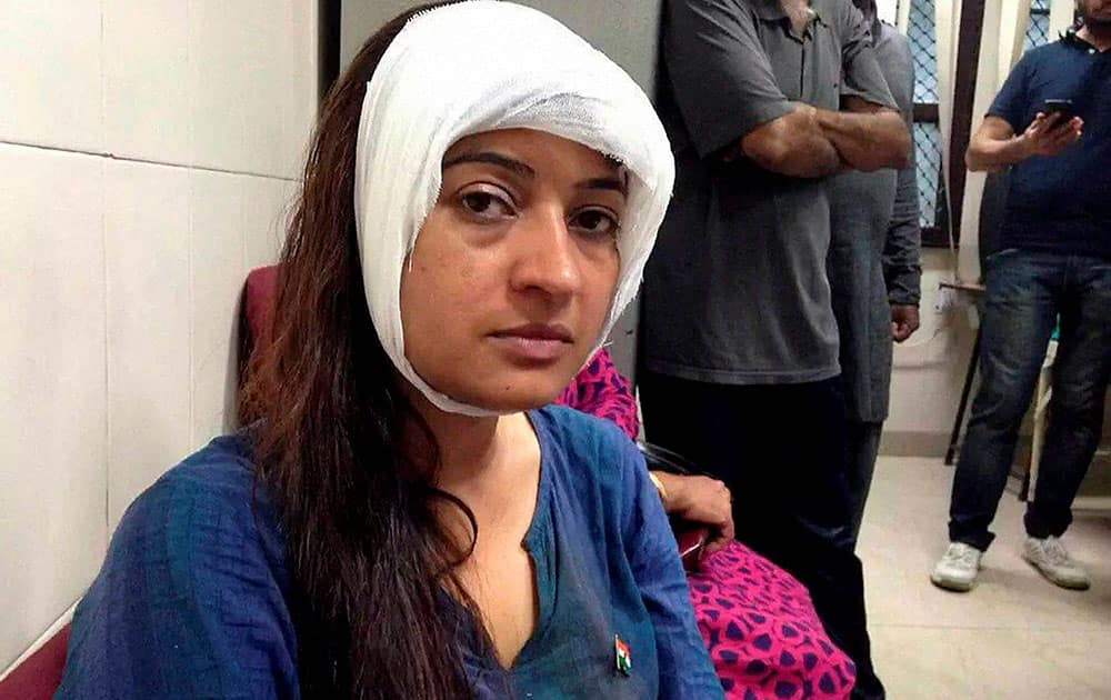 Alka Lamba was allegedly pelted with stones by some unidentified men at Rajghat during an anti-drug drive in New Delhi.