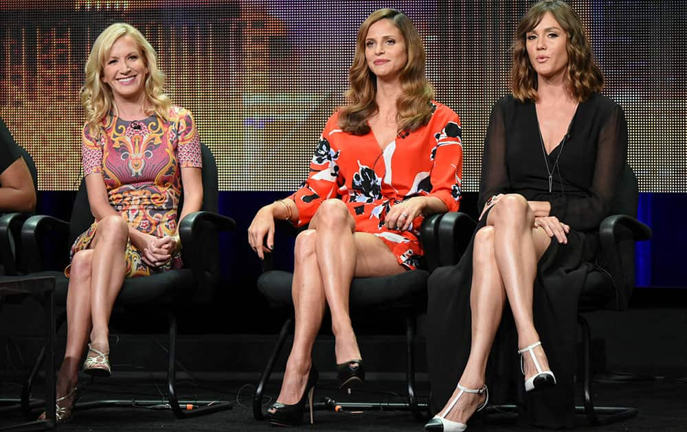 Actors Angela Kinsey, from left, Andrea Savage and Erinn Hayes participate in the