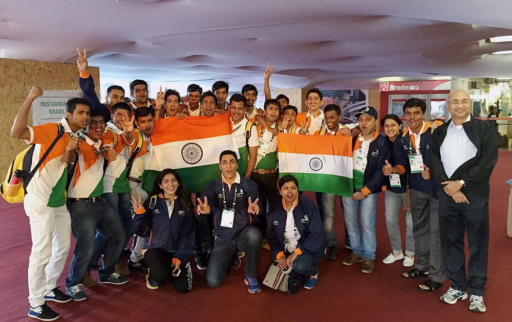 Contingent of 29 participants prepared by Ministry of Skill Development & Entrepreneurship and National Skill Development Corporation in Sao Paulo, Brazil on Sunday to partcipate in 43rd World Skills competition 2015.